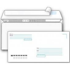 """Конверт почтовый Е65 (DL) 110x220мм, 80 г/м2, FORPOST, strip, """"кому-куда"""" 50 штук в упаковке.Цена за 1 упаковку."""